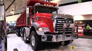 mack and volvo trucks 2016 mack granite gu813 axle back twin steer dump truck exterior