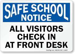 check in desk sign all visitors check in at front desk notice sign safe sku