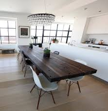 sydney copper dining table room contemporary with white pendant lights