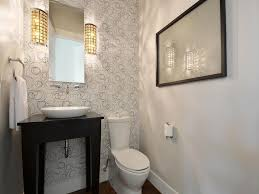 contemporary powder room with hardwood floors u0026 specialty door in