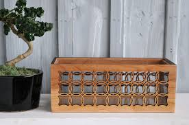 indoor floral box planter made from cherry wood acrylic liner