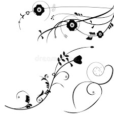 black flower ornaments vector background stock vector image