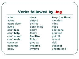 verb pattern of like verb patterns ing or to infinitive verbs followed by ing admit