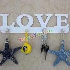 popular wood key holder buy cheap wood key holder lots from china white love coat hat key holder 4 hooks clothes bag robe mount screw wall rack door