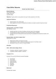 Video Resume Ideas Copy Editor Resume