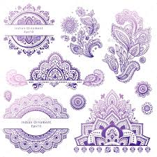 set of indian floral ornaments mandala henna by transiastock