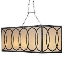 french iron charles rectangular chandelier 8 light rectangular