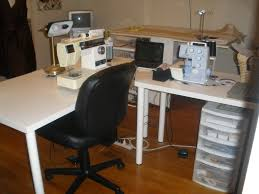 Office Chair On Laminate Floor Furniture White Wooden L Shaped Desk With White Steel Stand Base