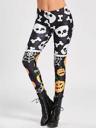 spider web skull pumpkin halloween leggings black xl in leggings
