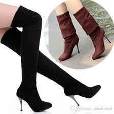 womens boots tesco fashion thigh high the knee boots spandex suede 8cm high