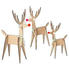 3 plywood reindeer decorations pipii