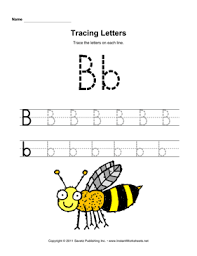 tracing letters b u2014 instant worksheets