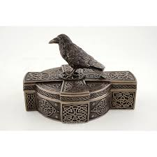 celtic raven on celtic cross treasure box gothic home decor crow