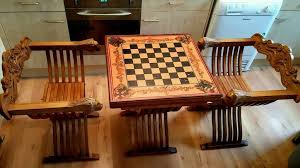 Chess Table And Chairs Chess Table And Chairs Lion Head Arms Folds Away In Exeter