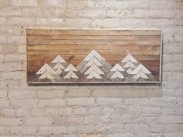 mountain wall wood reclaimed wood wall wall decor headboard lath