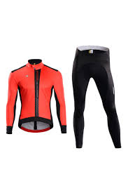 orange cycling jacket mens winter thermal cycling clothing bike jacket bike tights set