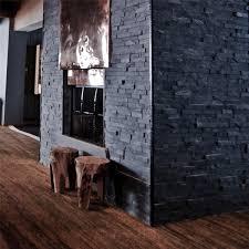 Wohnzimmer Naturstein Brickstones Mauer Verblender Wand Verkleidung Black Tg19478