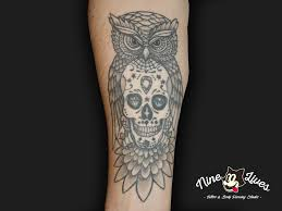 nine lives owl and sugar skull by