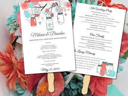 jar wedding programs jar wedding program fan template ceremony program coral