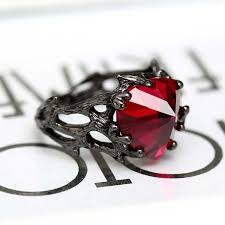 stone rings style images Vancaro black ring women 39 s with ruby heart stone in gothic style jpg