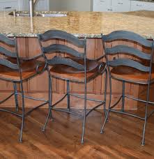 Ethan Allen Bistro Table Three Ethan Allen Wrought Iron And Wood Counter Chairs Ebth