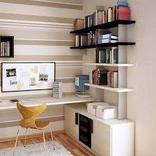 modern small home offices with open shelving and file storage and