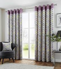 Living Room Curtains On Ebay Fusion Copeland Heather 46 X 90 100 Cotton Lined Eyelet Curtains