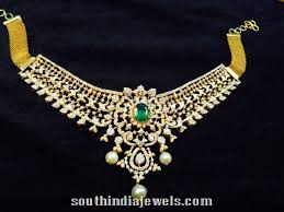 gold with diamond necklace images Gold diamond necklace with green stone south india jewels jpg