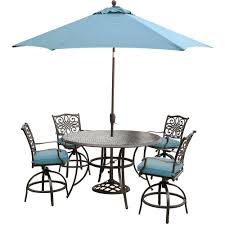 Outdoor Patio Dining Sets With Umbrella - hanover traditions 5 piece round outdoor bar height dining set