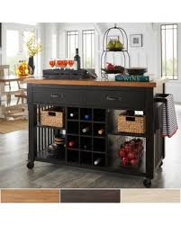 Wine Rack Kitchen Island Amazing Deal On Eleanor Two Tone Rolling Kitchen Island With Wine