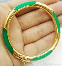clasp bangle bracelet images Emerald green jade yellow gold plated clasp bangle bracelet pearl jpg