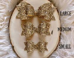 hair bow with hair gold hair bow etsy