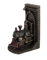 steampunk steam locomotive bronze finished single bookend zeckos