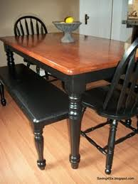 Country Casual Benches Black Painting Dining Table With Stained Top Gives It A More