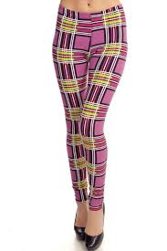 fancy fans peach plaid leggings from pennsylvania by empire styles
