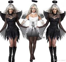 Angel Costumes Halloween Black Dark Devil Fallen Angel Costume Wing