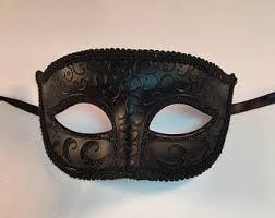 Black Mask Halloween Costume Black Venetian Mask Etsy