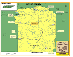 Map Of Alabama And Tennessee by Wayne County Tennessee Century Farms