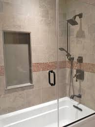 nice bathroom ideas with simple brown mosaic tile border and