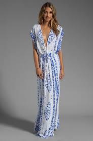 indah jade v neck draped lounge dress in blue lyst