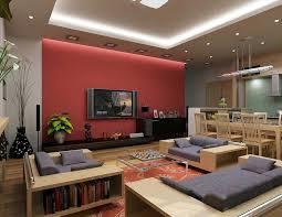 round black white rug varnished wood shelve racks living room tv