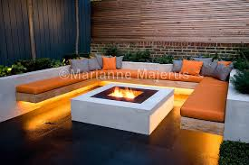 chill out garden contemporary seating with timber benches and