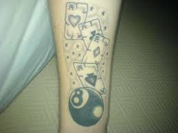 8 ball with cards tattoo