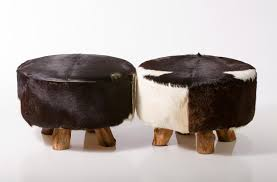 Cow Home Decor Fireplace Vintage Cowhide Ottoman With Lid Brown Leather For