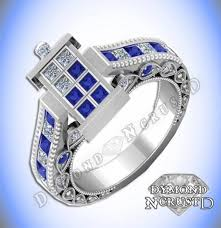 doctor who engagement ring doctor who inspired tardis blue sapphire swarovski diamond