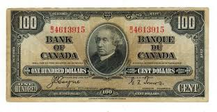 1937 vf hundred dollar bill bank of canada rousseau collections