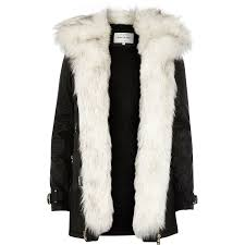river island black faux fur trim parka jacket in black lyst