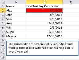 format date in excel 2007 how to format dates that are over 1 year old to turn red in excel