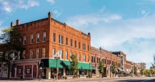 a photo of a typical small town main streetin the united states