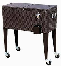 Patio Cooler Table Hio 80 Qt Outdoor Patio Cooler Table On Wheels Rolling Cooler